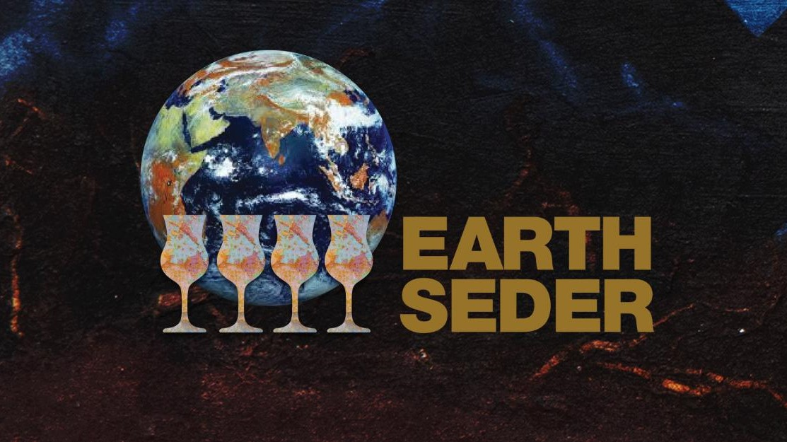 four cups in front of globe with text Earth Seder